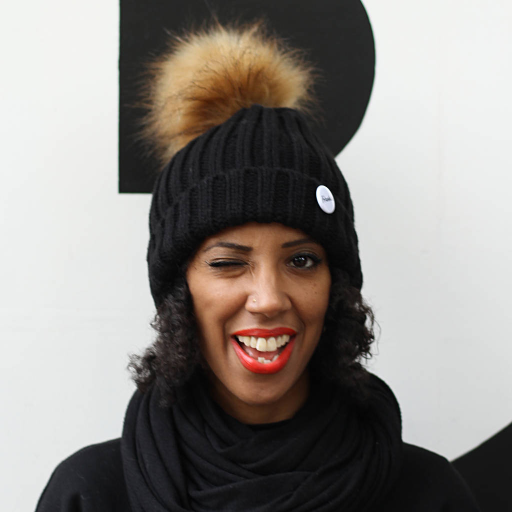 Create Your Own Beanie Hat With Removable Faux Fur Pom