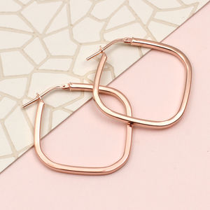 Gold Or Sterling Silver Square Hoop Earrings