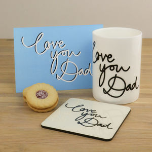 Love You Dad Personalised China Mug And Card - tableware