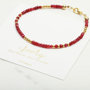 40th Birthday Raw Birthstone Bracelet Gift For Her