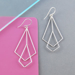 Geometric Diamond Art Deco Silver Drop Earrings - new season