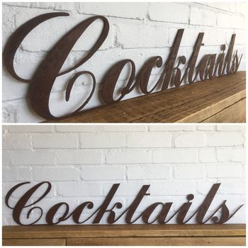 Classic Metal Cocktails Sign