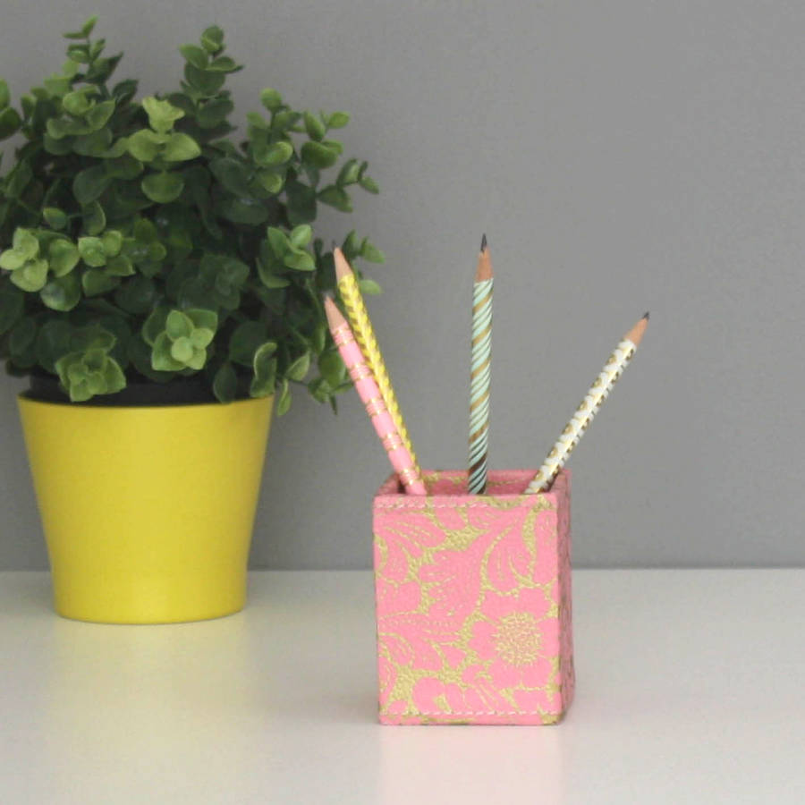 Recycled Gold Floral Square Pen Pot