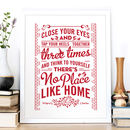 'No Place Like Home' Wizard Of Oz Quote Print