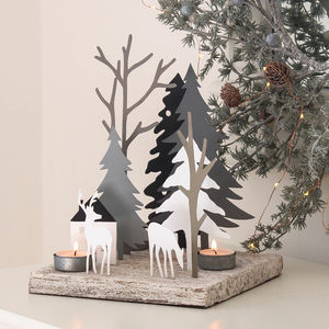 Winter Deer In Woodland Tea Light Scene - kitchen
