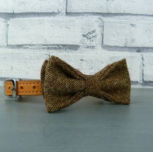Brown Birdseye Tweed Dog Bow Tie