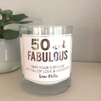50 And Fabulous Prosecco Candle