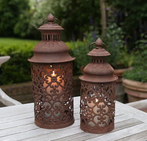 Round Filigree Metal Lantern - candles & home fragrance