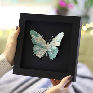 Personalised Map Location Butterfly Print Gift