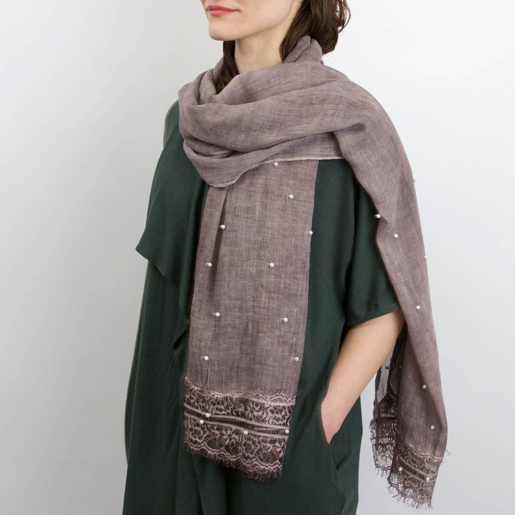 Soft Scarf With Pearl Lace Details
