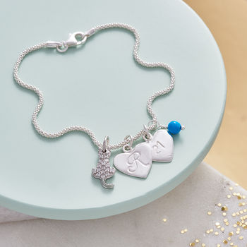 Cat Lover Personalised Silver Cat Charm Bracelet - Turquoise