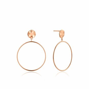 Rose Gold Ripple Front Hoop Earrings