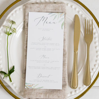 Botanical Wedding Menu