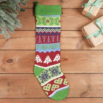 Log Cabin Knitted Christmas Stocking