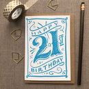 21st Birthday 21st Card Blue Chalk