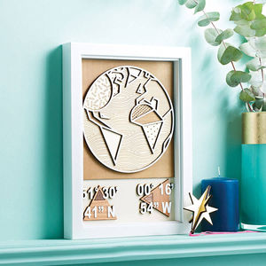 Personalised 3D Coordinates Wall Art - 5th anniversary: wood