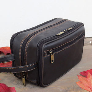 Brown Leather Wash Bag 35% Off