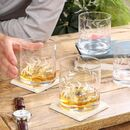 Set Of Four Botanical Etched Whisky Tumblers
