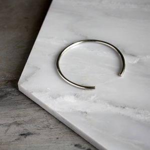 Silver Bangle Open Minimalistic Bracelet