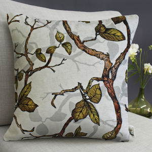 Inky Branches And Leaves Botanical Cushion