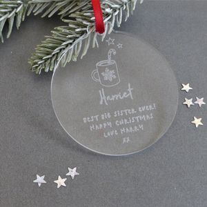 Big Sister Personalised Christmas Bauble Decoration