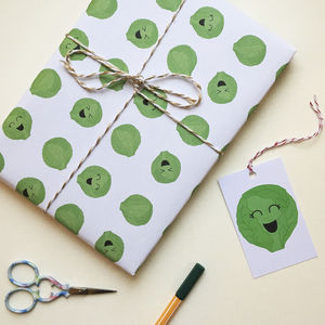 Brussels Sprouts Christmas Gift Wrap Pack Of Two Sheets - ribbon & wrap