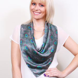 Peacock Feathers Square Silk Scarf - hats, scarves & gloves