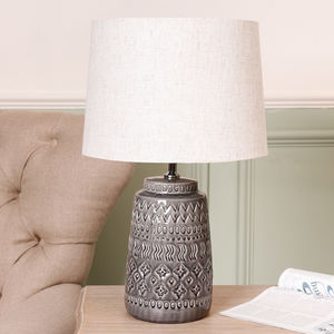 Grey Moroccan Ceramic Table Lamp With White Linen Shade - table lamps