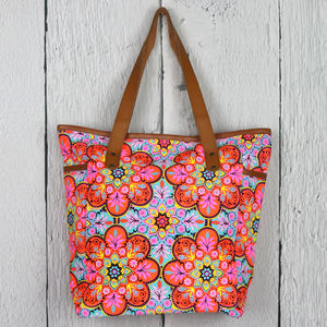 Neon Floral Print Large Shoulder Beach Bag