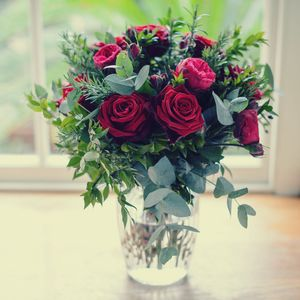 Early Bird 10% Garden Red Rose And Herb Bouquet