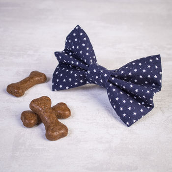 Navy And White Star Dog Bow For Girl Or Boy Dogs