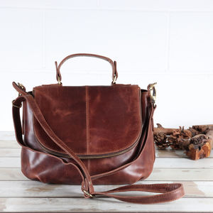 Abbey Leather Zip Grab Bag
