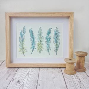 Hand Painted And Embroidered Feather Artwork - canvas prints & art