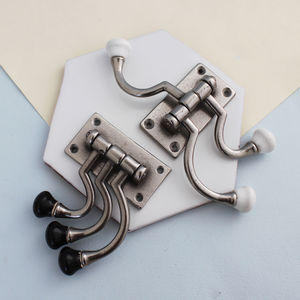 Vintage Style Black Or White Silver Swivel Hooks - hooks, pegs & clips