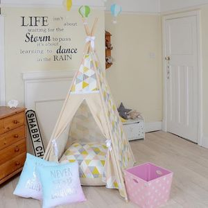 Geo Yellow And Pink Triangle Teepee Tent - tents, dens & teepees