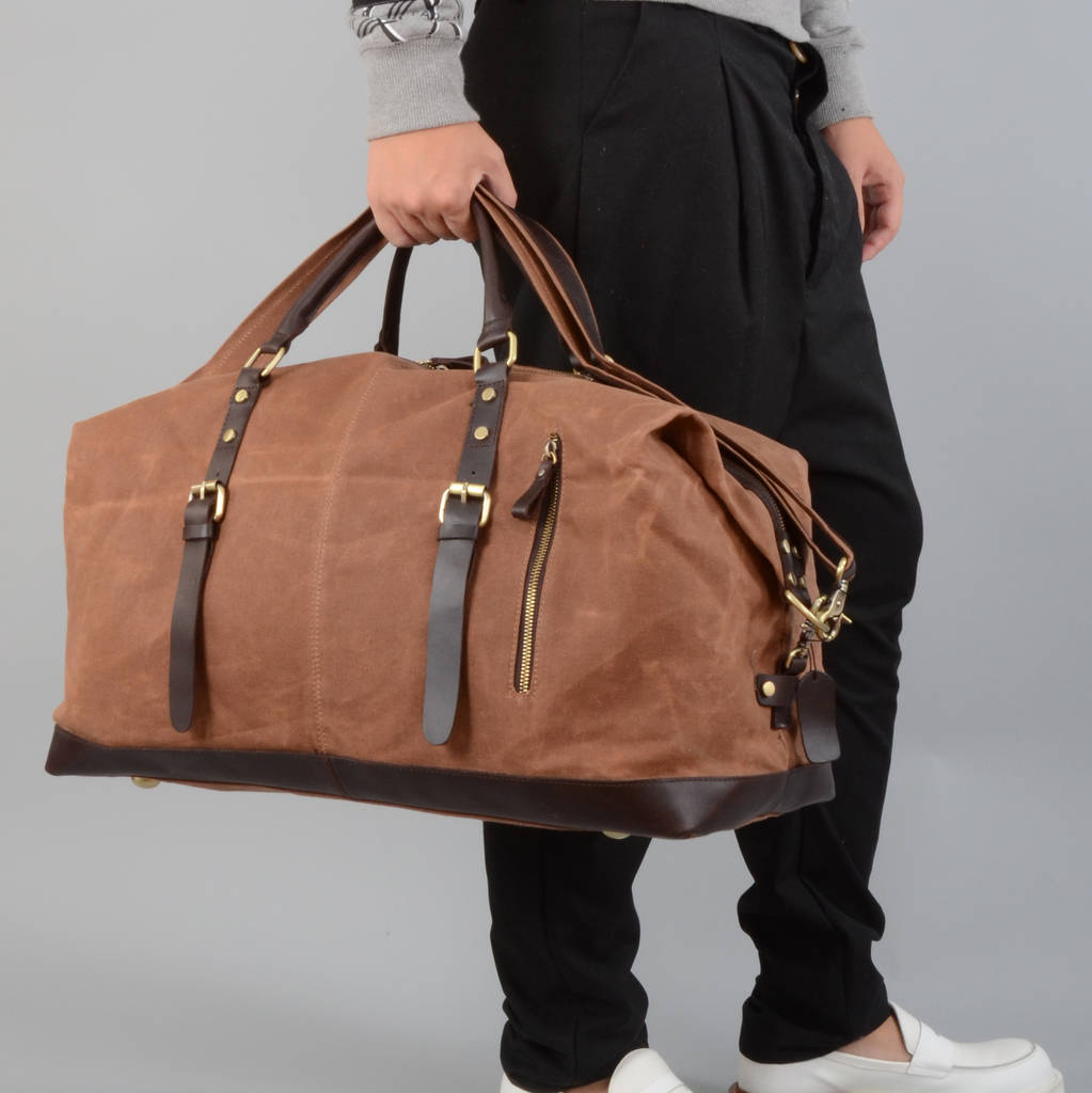 05f86f68263a handmade waxed canvas travel holdall for ladies by eazo ...