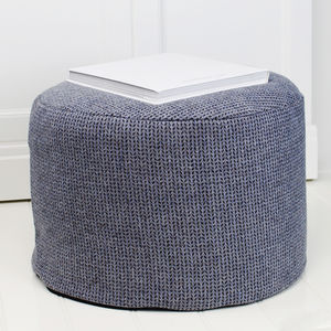 Blue Tweed Wool Foot Pouffe