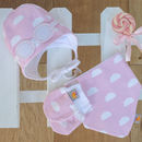 Newborn Gift Set Of Hat, Bib And Mittens Pink