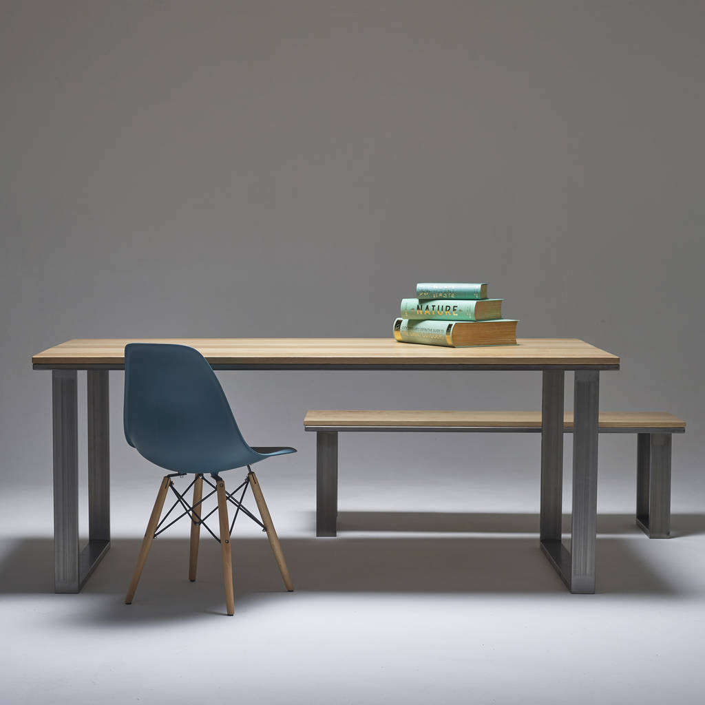 english oak dining table solid hardwood with steel legs by wicked rh notonthehighstreet com