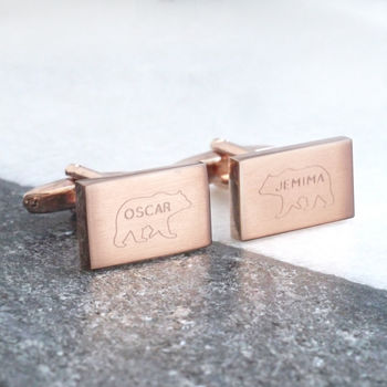Personalised Engraved Bear And Name Cufflinks