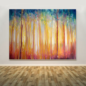 Golden Forest Hidden Unicorn Oil Painting