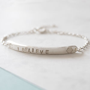 I Believe Children's Silver Bracelet - personalised