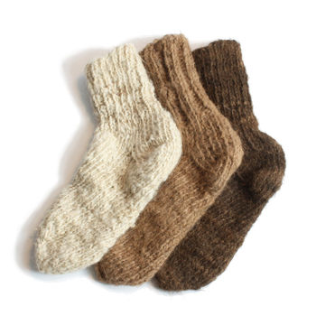Hand Knitted Nomadic Camel Wool Socks