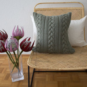 Strikk Hand Knit Knotted Cable Cushion Grey - plain cushions