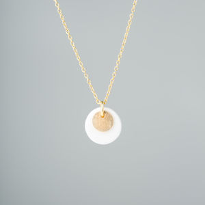 Porcelain And Fine Metal Double Disc Necklace