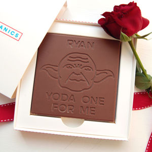 Personalised 'Yoda One For Me' Chocolate Card - novelty chocolates