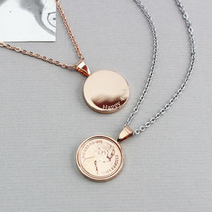Personalised Rose Gold Halfpenny Necklace 1971 To 1983 - necklaces & pendants