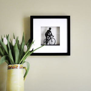 Framed Paper Cut Road Bike Artwork