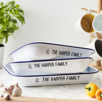 Enamel Family Personalised Baking Tray