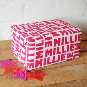 Personalised Name Wrapping Paper - ribbon & wrap